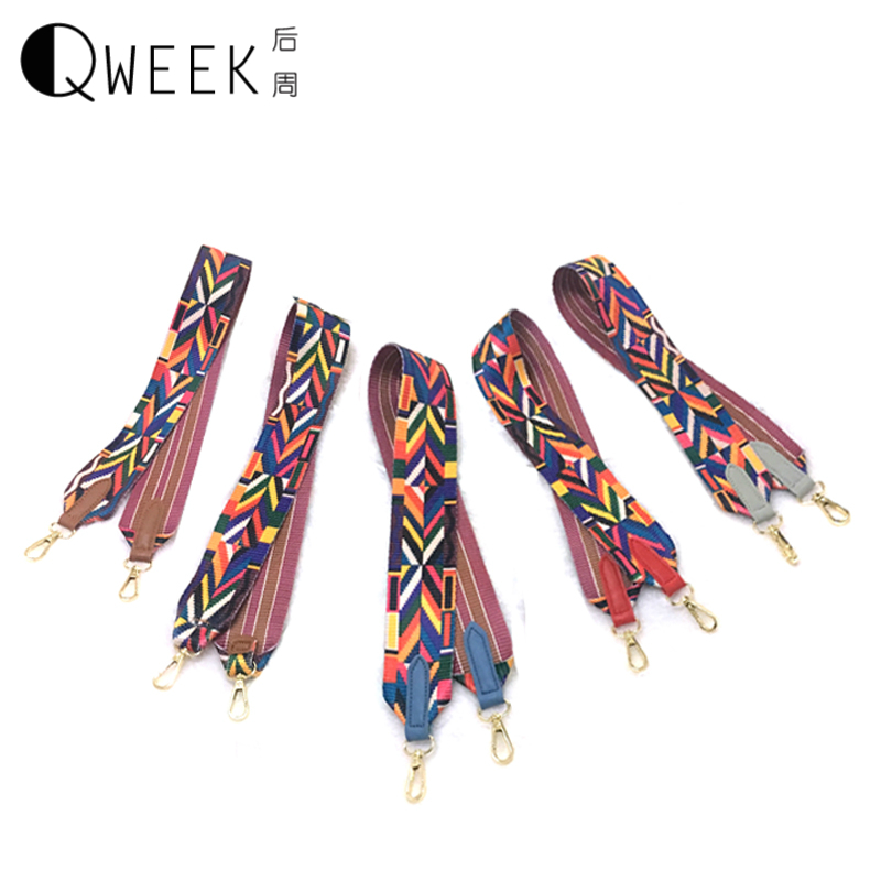 QWEEK Bags Strap 2017 Gold Buckle Bohemian Style Women Handbag Strap You Chic Lady Need Shoulder Bag Belts Wide and Soft Design 2016 summer national ethnic style embroidery bohemia design tassel beads lady s handbag meessenger bohemian shoulder bag