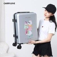 CARRYLOVE высокого качества Чемодан 20/24 размер с рисунком милого кота ПК скользящий Чемодан Spinner бренд дорожного чемодана