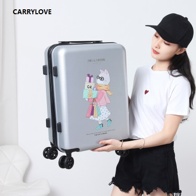 CARRYLOVE high quality luggage 20/24 size Cartoon Cute cat PC Rolling Luggage Spinner brand Travel SuitcaseCARRYLOVE high quality luggage 20/24 size Cartoon Cute cat PC Rolling Luggage Spinner brand Travel Suitcase