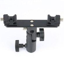 Base de la lámpara Flash 2 cabeza de Triple zapata del adaptador del montaje de luz de Flash soporte Bracket Umbrella Holder