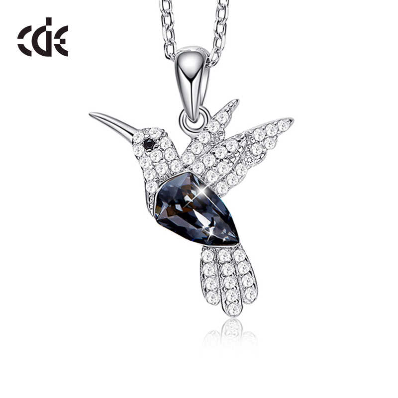 CDE 925 Sterling Necklace Embellished with crystals from Swarovski Pendant Necklace Bird Jewelry Women Collar Necklace Mom Gifts
