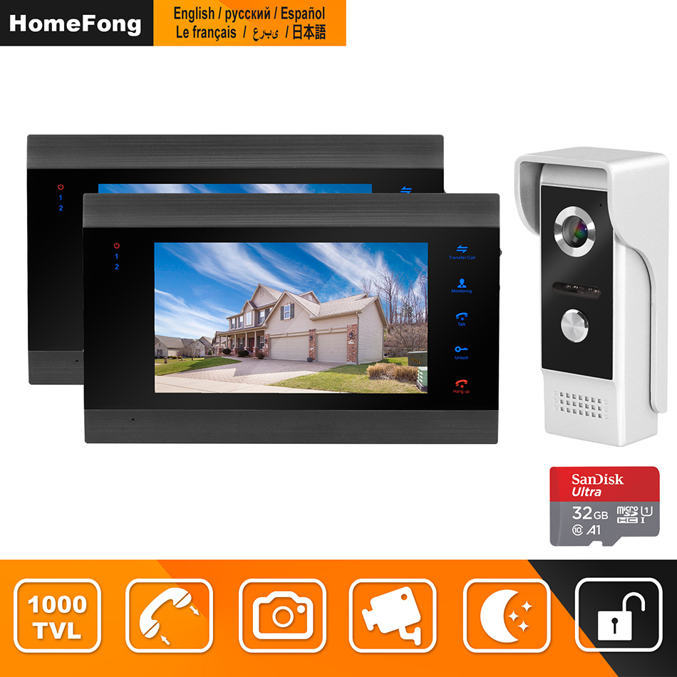 HomeFong Wired Video Intercom For Home Security System Video Door Phone With 2 Monitor 1 Doorbell Camera Motion Detect Recording