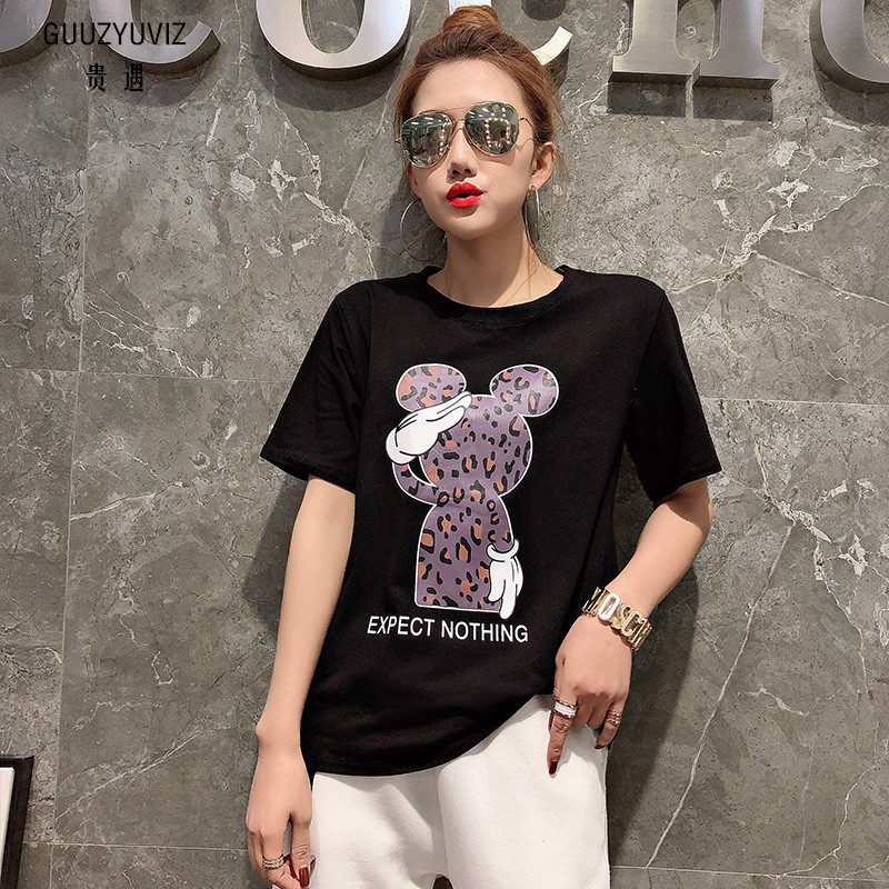 GUUZYUVIZ Black White T Shirt Women Summer 2019 Plus Size Print Tee Shirt Femme Casual Women Clothes Loose Camisetas Mujer