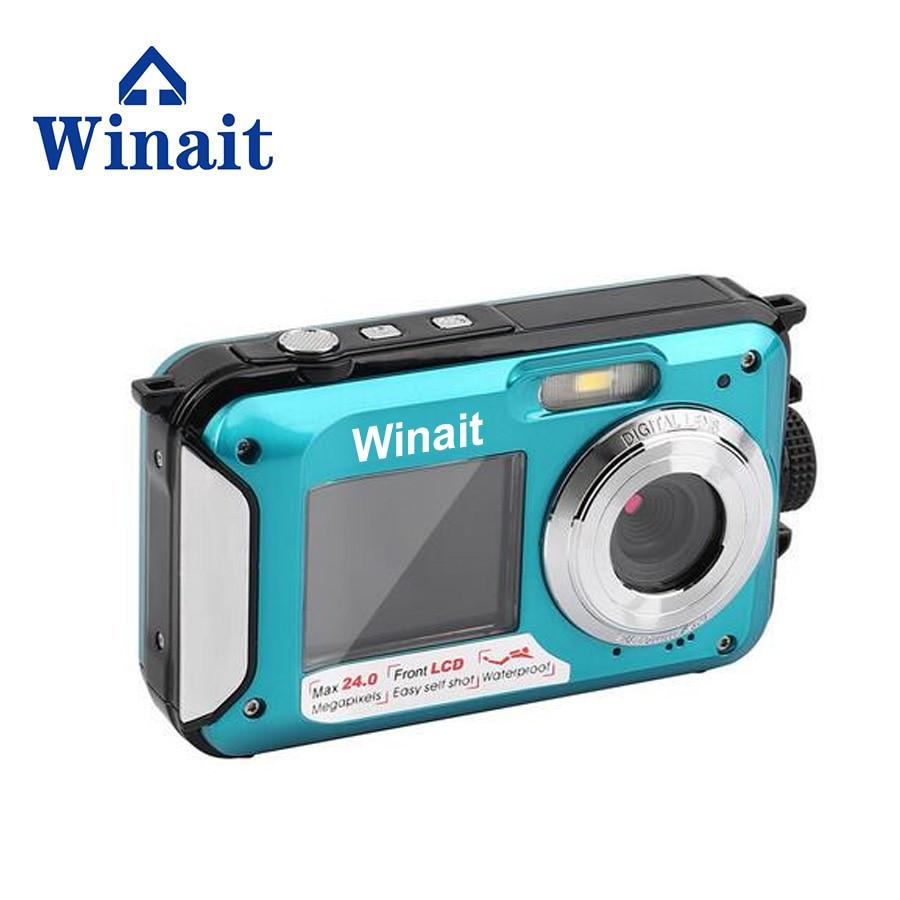 Winait 24MP étanche caméra vidéo numérique double affichage 16x zoom numérique mini caméra livraison gratuite