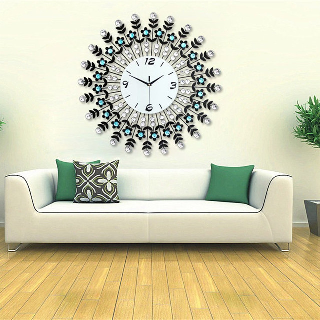 Large Size Living Room Wall Clock Wrought Iron Elegant Atmosphere European Clocks