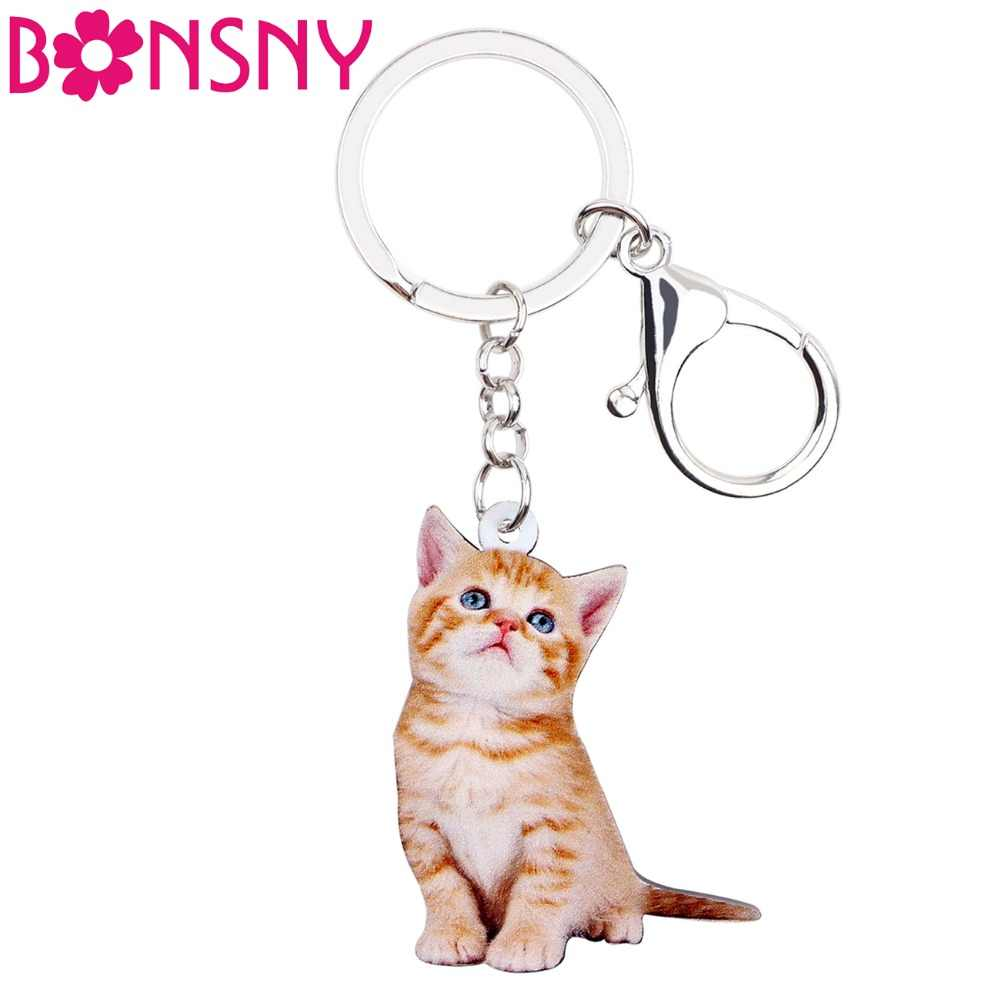 Bonsny Acrylic Anime Lovely Kitten Cat Key Chains Keychain Rings Fashion Jewelry For Women Girl Teens Ladies Handbag Car Charms