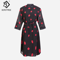 Vestidos Femininos 2015 Summer Cute Red Lips Print Stand Half Slevee Women Chiffon Dress Plus Size