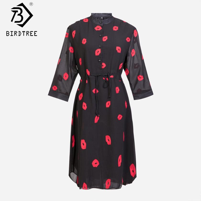 Vestidos Femininos  Summer Cute Red Lips Print Stand Half sleeve Women Chiffon Dress Plus Size White,Black S-4XL D54202