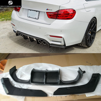 3PCS/SET F80 M3 F82 M4 V style Carbon Fiber Rear Bumper Lip rear Diffuser For BMW F80 M3 F82 M4 2014UP