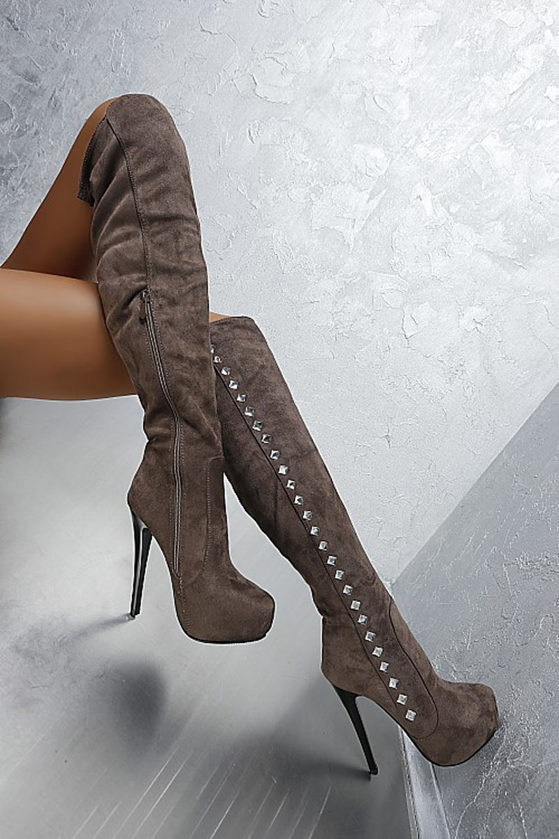 New arrival high quality suede leather round toe long boots sexy platform high heel boots luxury crystal decorated boots women цена