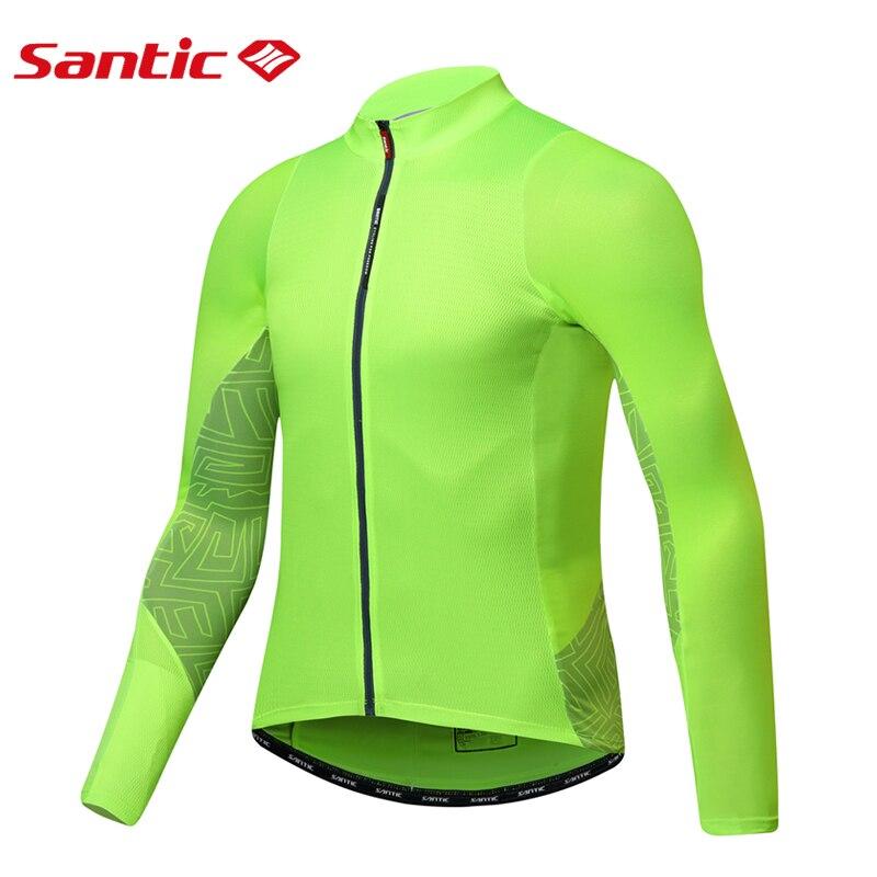 Santic Men Long Sleeve Cycling Jerseys Windproof MTB Road Bike Top Jersey Spring Autumn Quick Dry