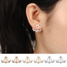17KM New 3 Colors Crystal Flower Stud Earrings Piercing Earing Koyle 2016 Fashion Earrings for Women Bijoux Jewelry Brincos