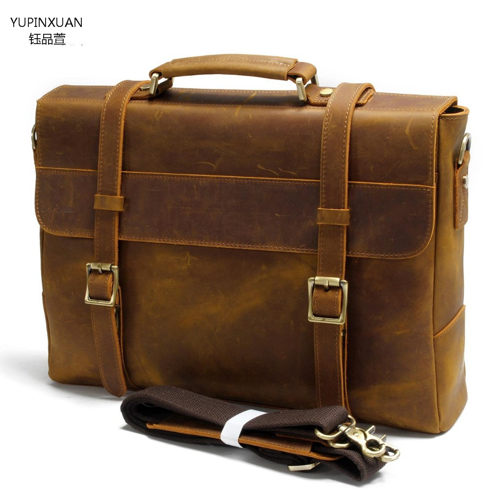 YUPINXUAN vintage handmade crazy horse briefcase mens genuine leather messenger bag male business office bag Lawyer Briefcase бордюр atlas concorde dwell off white spigolo 1x20