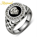 Ajojewel Brand #7-12 Classic Man Ring White Gold Plated Cool Black Stone Men Jewelry Fashion With Rhinestones
