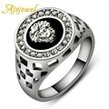 Ajojewel Brand #7-12 Classic Man Ring White Gold Plated Cool Black Stone Men Jewelry Fashion With Rhinestones