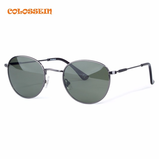 COLOSSEIN Orange Label Sunglasses Men Vintage Classic Metal Round Eyewear New Arrival Fashion Polarized Sunglasses For Adult