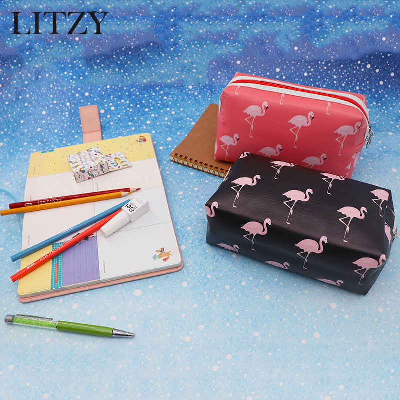 Kawaii Big Pencil Case Cartoon Flamingo Multifunction Pencil Bag Cute School Supplies Bts Stationery Gift for Girls Pencil Box new leather pencil case bag for school boys girls vintage pencil case box stationery products supplies as gift for student