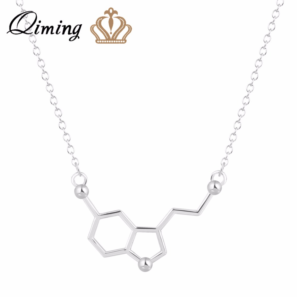 QIMING Fashion Necklaces For Women 2017 Chemistry Serotonin Necklace Element Chemistry Molecule Necklace Gift Best Friend Gift