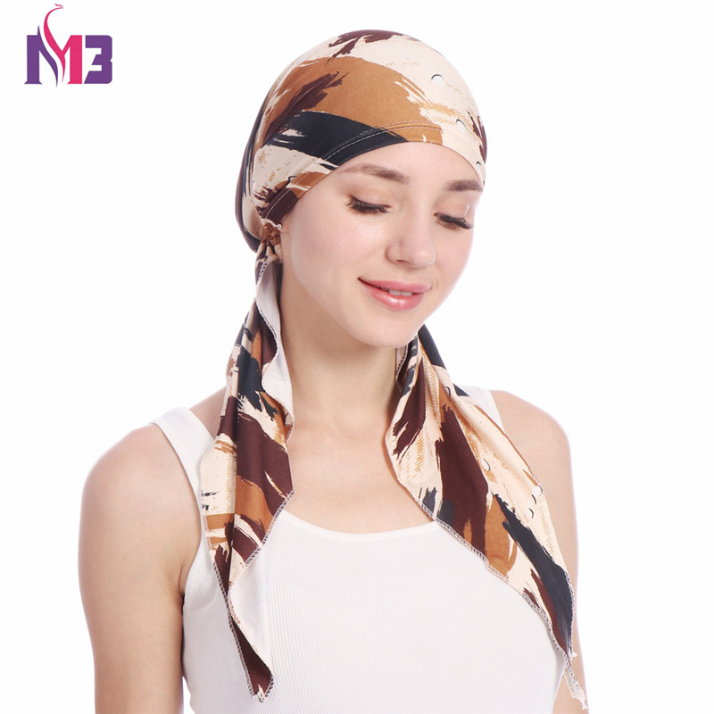 Fashion Women Print Turban Bandanas Stretchy   Headwear   Chemo Hat Long Tie Head Cover Hair Accessories Wigs Cap Turbante for Women
