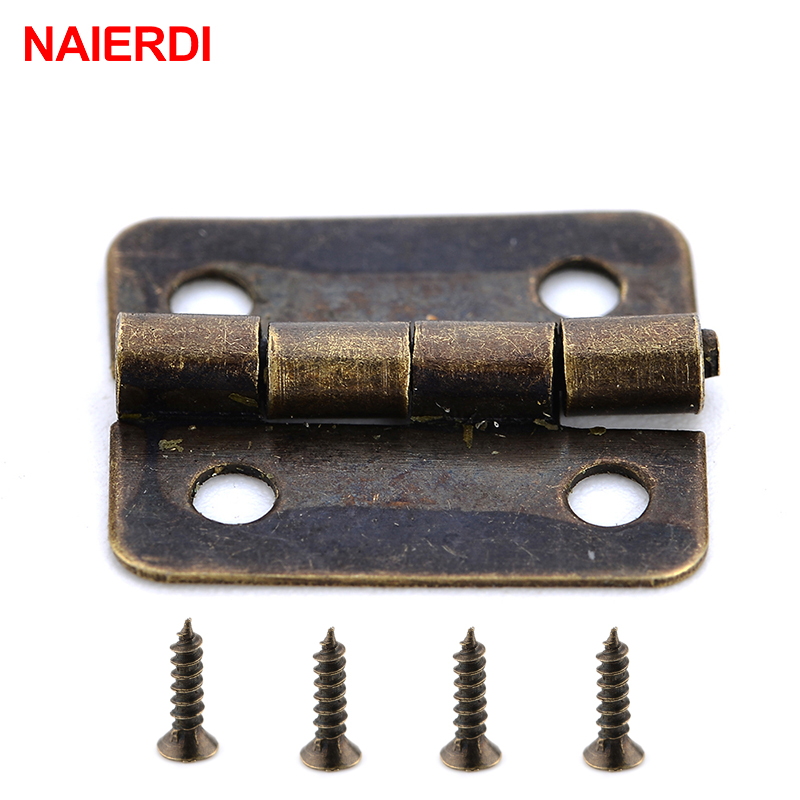 50PCS NAIERDI Mini Bronze Gold Hinge Square Antique Door Hinges For Wooden Cabinet Drawer Jewellery Box Furniture Hardware brand naierdi 90 degree corner fold cabinet door hinges 90 angle hinge hardware for home kitchen bathroom cupboard with screws