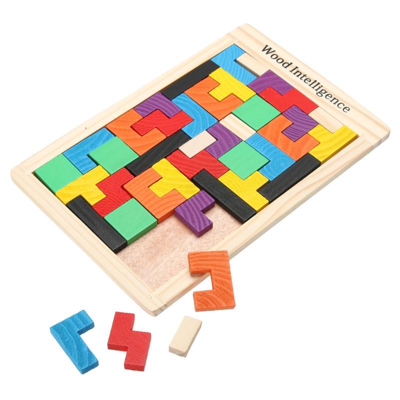 все цены на Wooden Tangram Brain Teaser 3D Puzzle Toy Oyuncak Preschool Magination Intellectual Educational Kids Toy Colorful Jisgaw Board