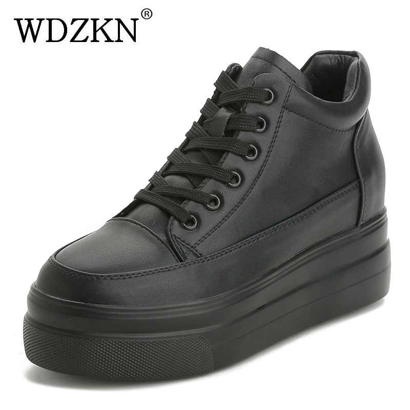 WDZKN New Arrival Women Platform Casual Shoes Cowhide Genuine Leather Sneakers Comfortable Height Increasing Women Shoes