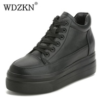 WDZKN New Arrival Women Platform Casual Shoes Cowhide Genuine Leather Sneakers Comfortable Height Increasing Women Shoes HA83