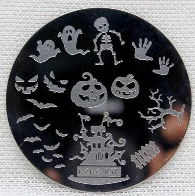 Rodada Prego Selo Arte Carimbar Placas Modelo Crânio Abóbora Castelo Fantasma Pavilion Nail Art Stamp Template Placa Imagem # hehe057 #