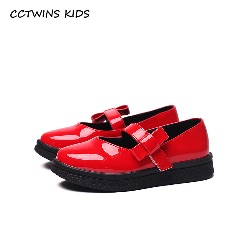 CCTWINS KIDS 2017 Toddler Bow Baby Girl Mary Jane Black Shoe Children Fashion Brand Pu Leather