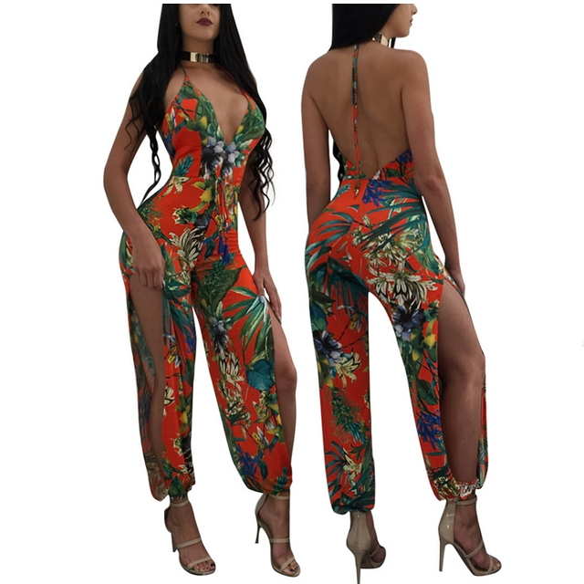 a39b257db51 Floral Print Halter Jumpsuit For Women Sexy One Piece Romper Club Wear Wide  Leg Cut Out Pants Side Slit Backless Overalls