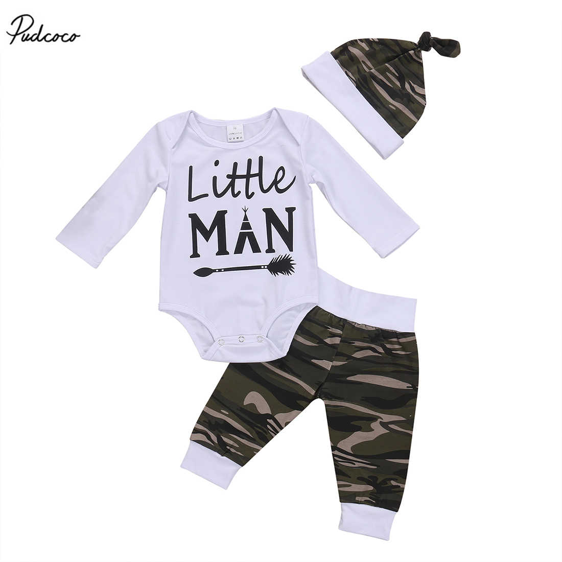 Новинка 2017 года, хлопковые топы с длинными рукавами для маленьких мальчиков, камуфляжные штаны, шапка, комплект одежды из 3 предметов