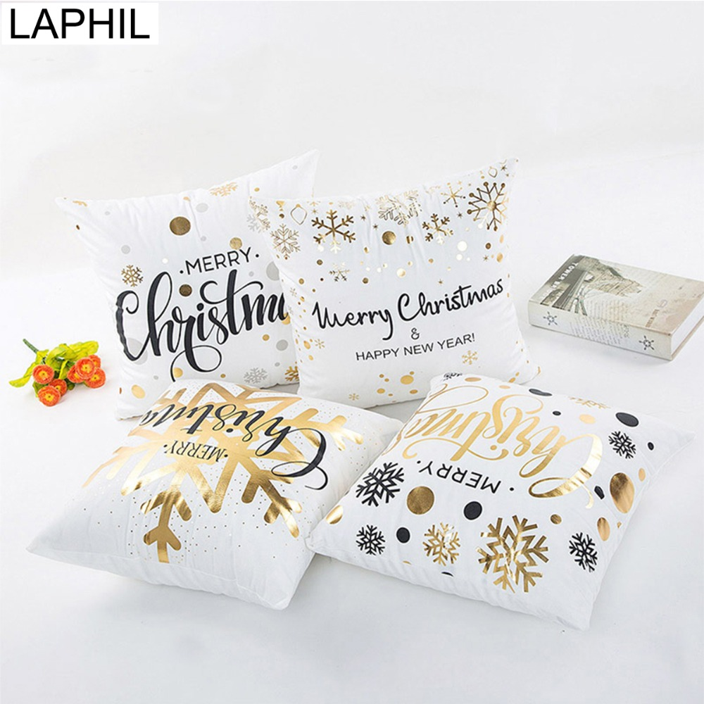 LAPHIL 2018 Christmas Decorations Golden Cotton Pillow Case Merry Christmas Decorations for Home New Year Party Supplies