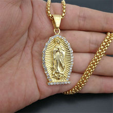 Hip Hop Iced Out Bling Jungfrau Maria Halsketten Anhänger Gold Farbe 316L Edelstahl Madonna Halskette Frauen Christian Schmuck