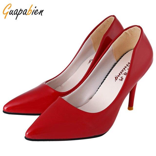Guapabien 2017 Preto OL Dedo Apontado Sapatos de Salto Alto 10 Doce cor PU de Couro Macio Bombas Novas Mulheres de Salto Fino Partido Trabalho sapatos