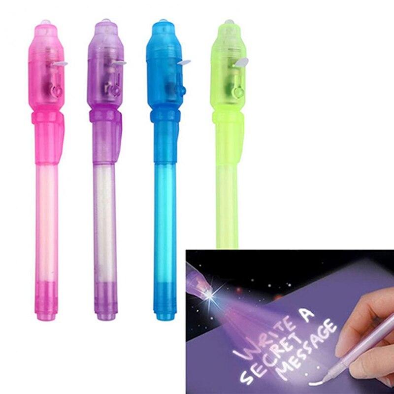 2 шт. пластиковые Волшебные шариковые ручки синий зеленый цвет секретные обучения проверка денег ручки инструмент 2 в 1 Невидимый УФ-светильник чернильная ручка