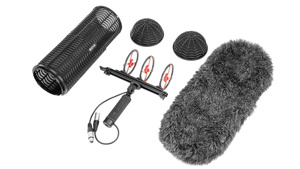 BOYA BY-WS1000 Windshield and Suspension System with XLR Male and Female Inputs & 3 Shockmount for XLR Input MicrophonesBOYA BY-WS1000 Windshield and Suspension System with XLR Male and Female Inputs & 3 Shockmount for XLR Input Microphones