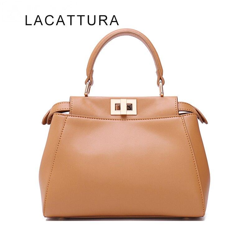 LACATTURA Hot Sale Famous Brand Design It Bag Women Genuine Leather Peekabo Handbag High Quality Cowskin Shoulder Bag Tote стоимость