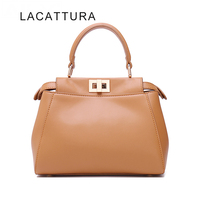LACATTURA Hot Sale Famous Brand Design It Bag Women Genuine Leather Peekabo Handbag High Quality Cowskin
