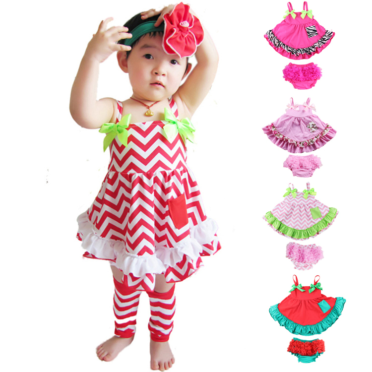 2017 Summer Style Baby Swing Top Baby Girls Clothing Set Infant Flower Ruffle Outfits Bloomer Set Newborn Girl Clothes Sets