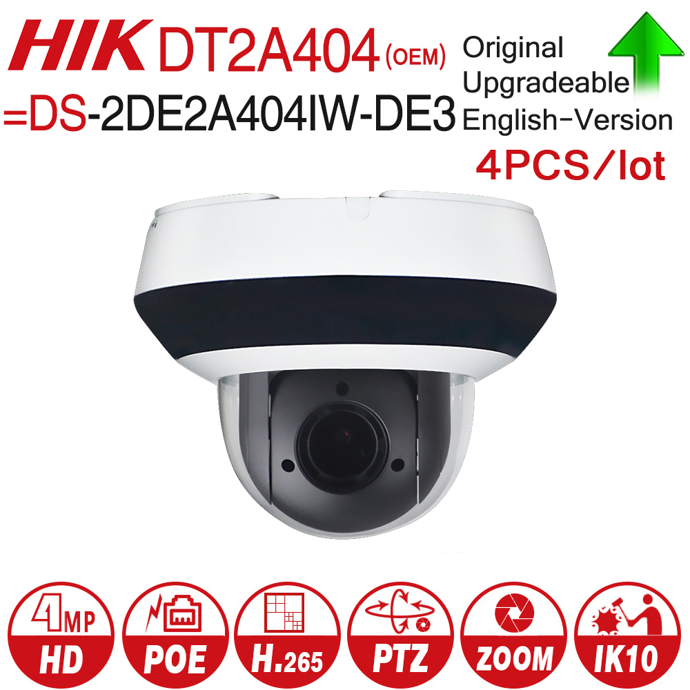 Hikvision OEM PTZ IP Camera DT2A404 = DS-2DE2A404IW-DE3 4MP 4X zoom Network POE H.265 IK10 ROI WDR DNR Dome CCTV Camera 4pcs/lot dhl free shipping in stock new arrival english version ds 2cd2142fwd iws 4mp wdr fixed dome with wifi network camera
