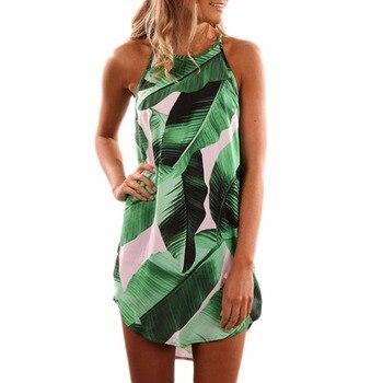 Adogirl Women Fashion Round Neck Sleeveless Mini Dress Casual Summer Style Tank Dresses Palm Tree Leaf Print Dress Drop Shipping Платье