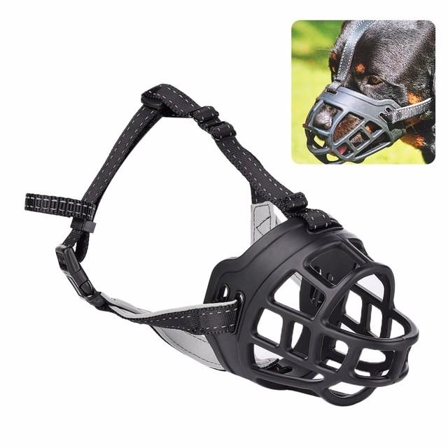 Bozal seguridad perro boca máscara ventilado mascota mordida corteza cubierta