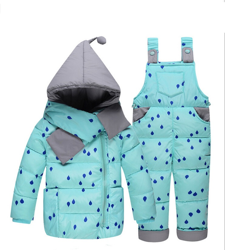 Cartoon Baby Children Boys Girls Winter Warm Down Jacket Suit Set Thick Coat+Jumpsuit Baby Clothes Set Kids Jacket new 2017 winter baby thickening collar warm jacket children s down jacket boys and girls short thick jacket for cold 30 degree