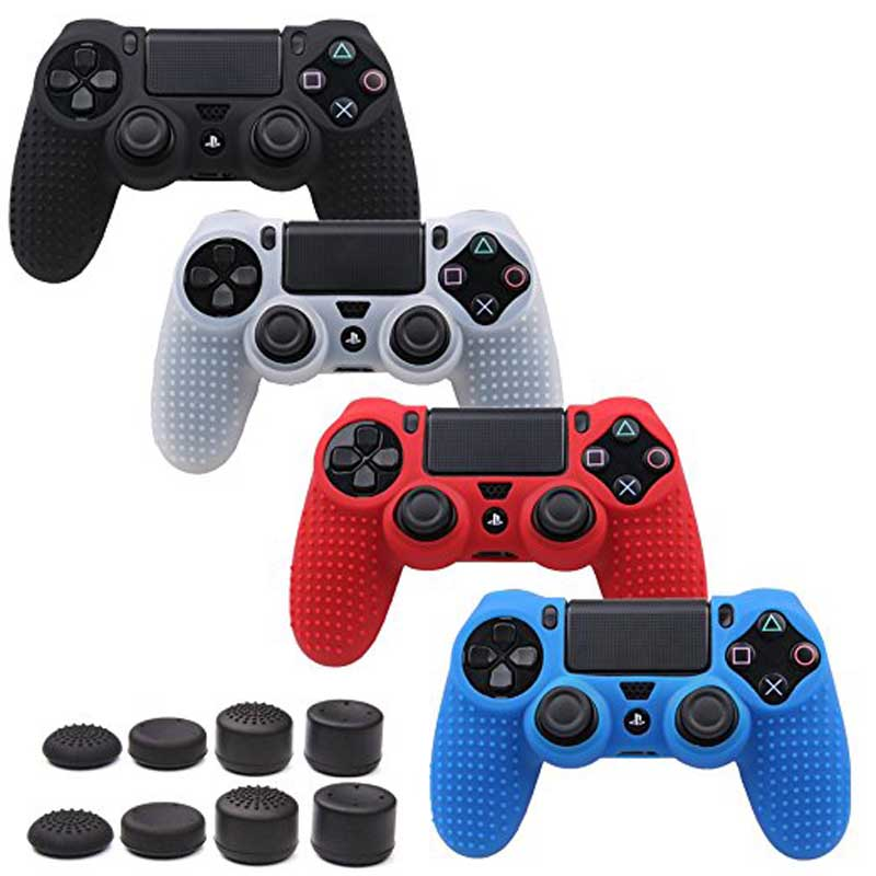 Anti-slip Silicone Cover Skin Set + PS4 FPS Pro Thumb Grip for PS4 /SLIM/PRO Controller image