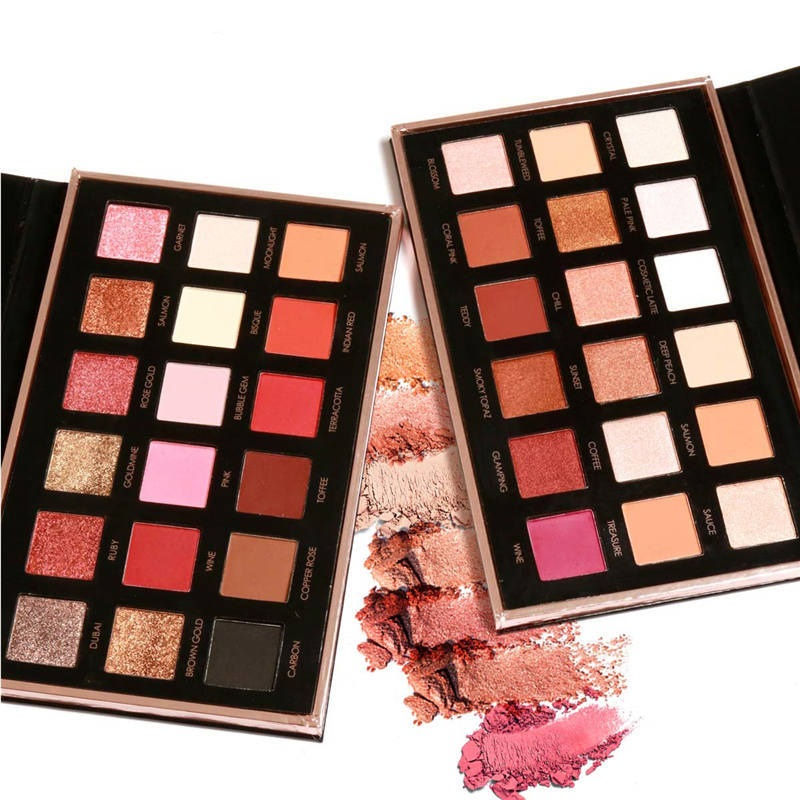 FOCALLURE 18 Colors Eyeshadow Palette Diamond Rose Gold Glitter Eye Shadow in One Palette Makeup Set
