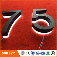 Laser cutting acrylic stainless steel backlit led channel letter outdoor shop signs/LED house number
