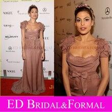 Eva Mendes 2011 Kunst Von Elysium Himmel Gala Roter Teppich Kleid Rüschen Kurzarm Braun Lange Formale Abendkleid