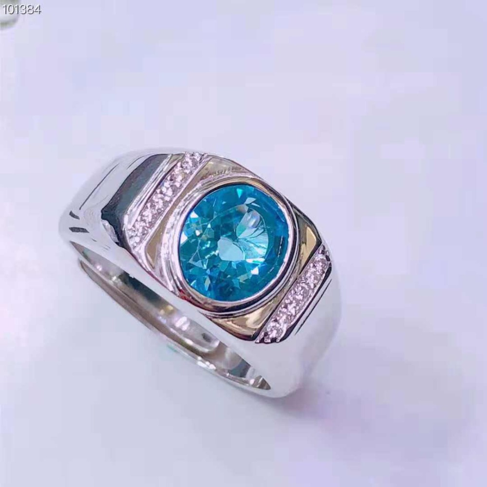 Topaz Ring Men Real 925 Sterling Silver Jewelry Pop Vintage Ring Natural Stone Superior Jewelry Sea Blue Wedding Anniversary bestlybuy vintage ring 100% real 925 sterling silver classic cross natural stone adjustable joint ring women men jewelry
