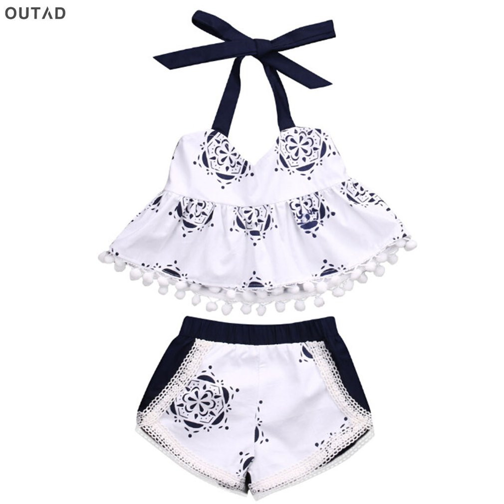 2pcs/set Summer Newborn Infant Baby Girl Clothes Printing Halter&Elastic Waist Shorts Flower Ruffle Outfits Bebe Clothing Set