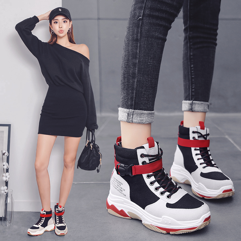 2018 winter Newest Trendy Shoes Woman High Top Sneakers Women Platform Shoes  Ladies Ankle Boots LACE UP walking Shoes Breathable 2b869d657